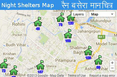 Night Shelter Map